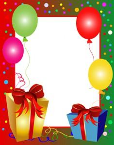 Geburtstagskarte Rahmen mit Geschenken